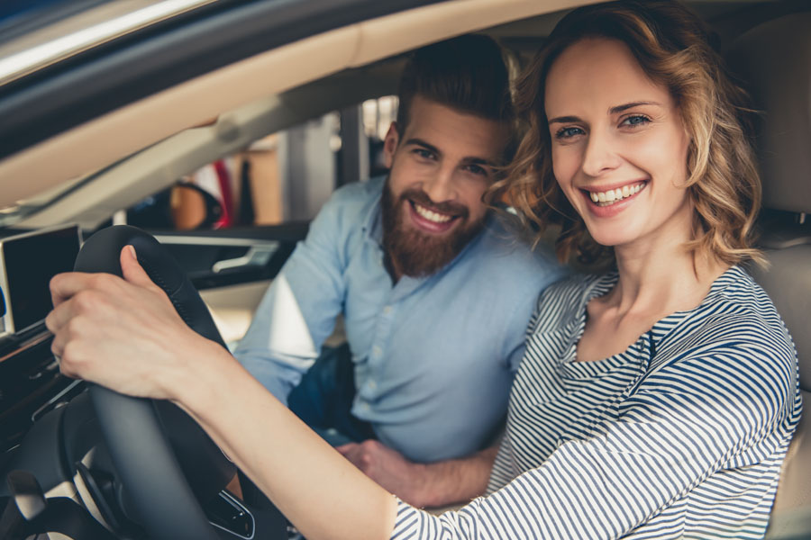 Request Auto ID Card - Couple Driving Together in the Car